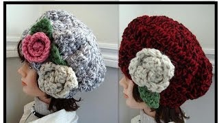 Chunky Style Hat, CROCHET PATTERN, with flowers, how to diy, free video tutorial(Chunky Style Hat, CROCHET PATTERN, with flowers, how to diy, free video tutorial CROCHET BAG: http://www.youtube.com/watch?v=7J0SLRyvb0w ROUND ..., 2013-12-14T13:20:22.000Z)