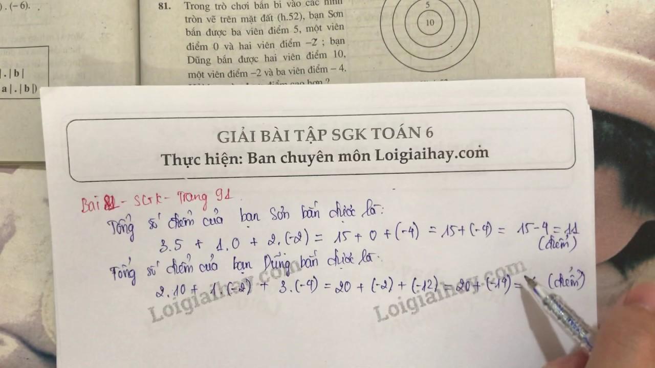 Giải bài 81 trang 91 SGK toán 6 tập 1