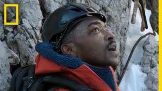 Anthony Mackie Descends a Cliff Face | Running Wild with Bear Grylls