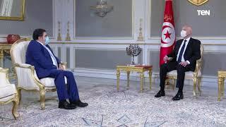 لقاء الرئيس التونسي قيس سعيد مع السيد بشير الكثيري المدير العام لديوان الحبوب