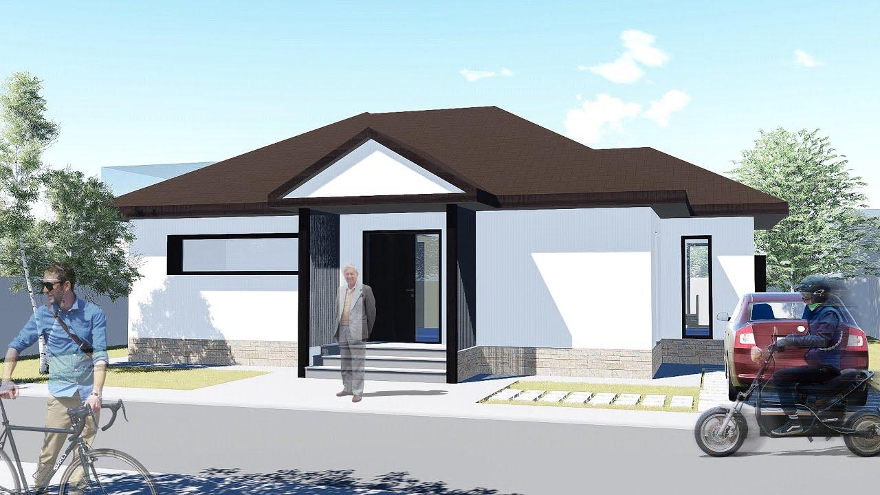Proiect casa RUSTICA  Parter  3 camere  77 mp  YouTube