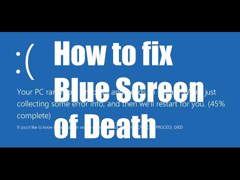 Windows 10 blue screen stop code critical process died