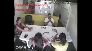 Girl falls off chair during meeting