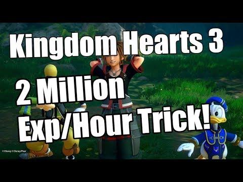 Kingdom Hearts 3 2 Million Exp Hour Farming Method Youtube