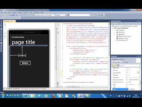 [HD] Windows Phone 7 Hello World application by EugeneDotnet