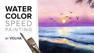 Как нарисовать акварелью красивый закат / How to paint sunset in watercolor