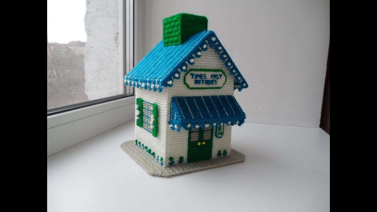 Схемы вышивки на пластиковой канве домики