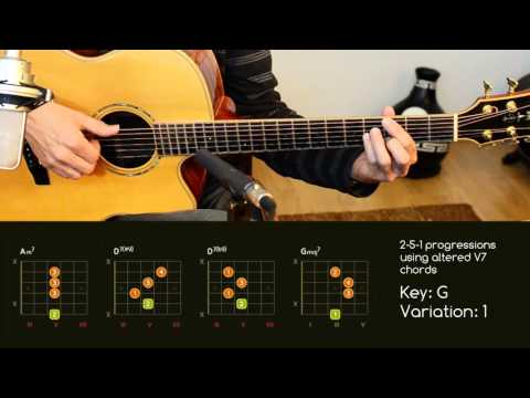 Guitar chord progressions • 2-5-1 using altered chords • IIm7 V7alt Imaj7