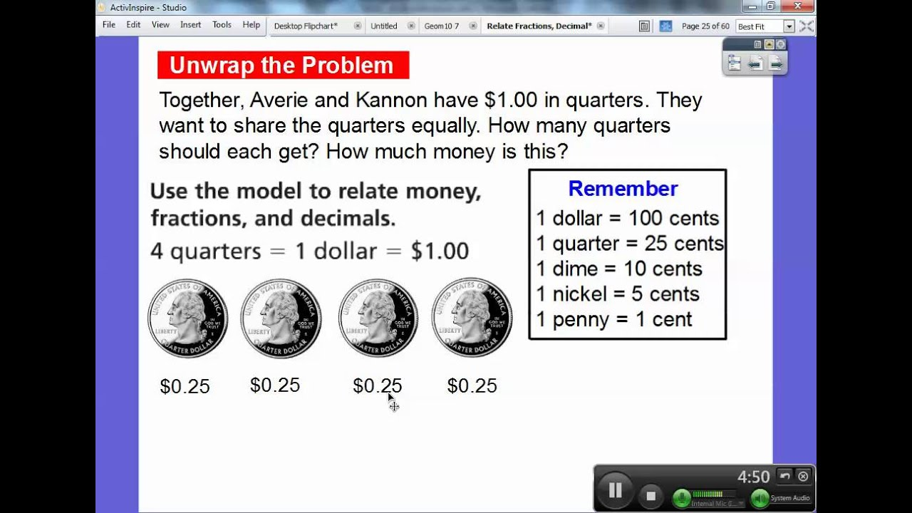 Relate Fractions Decimals and Money Lesson 94 YouTube – Decimals and Money Worksheets