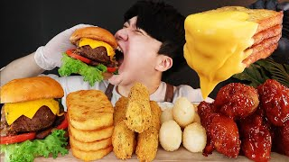 ASMR MUKBANG 버섯 햄버거 & 치즈 스틱 & …