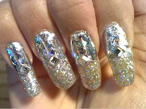 Sparkling Silver Foil New Year's Eve Nail Art - YouTube