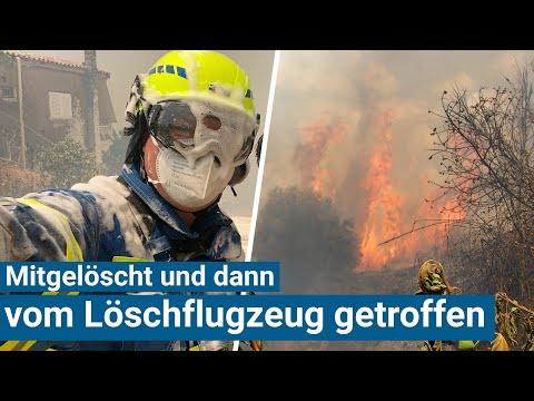 Mitgelöscht und vom Löschflugzeug getroffen: Waldbrände in Griechenland außer Kontrolle