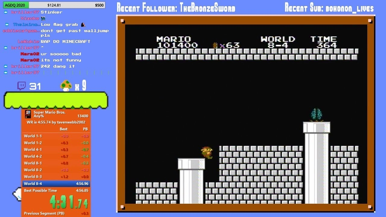 PB] Super Mario Bros  Any% in 4:56 844 by GTAce99 : speedrun