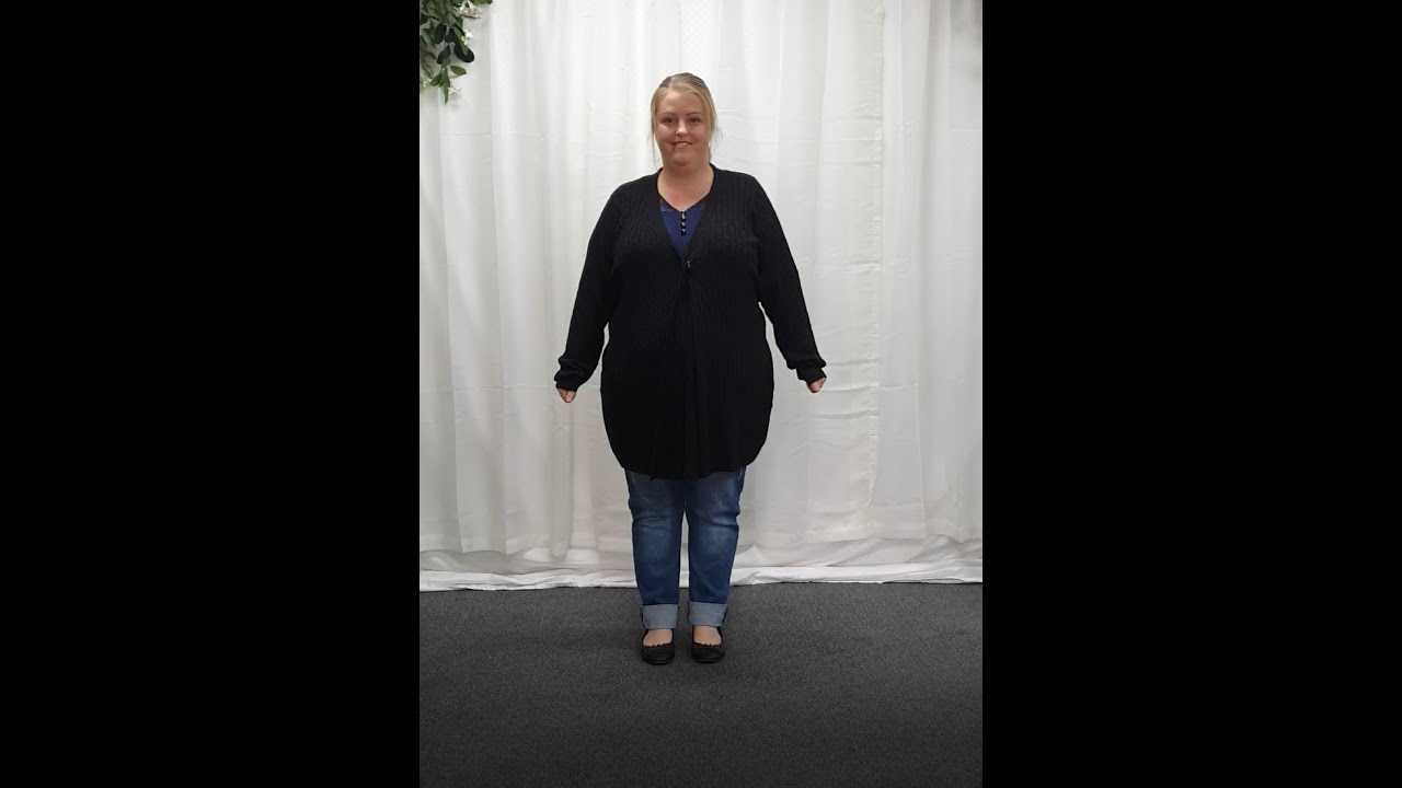 Plus Size Black Waterfall Knit Cardigan
