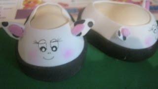 Repeat youtube video Tutorial (PaP) Desde Cero de Estos Zapatos De Fofucha Vaquita Foami Gomaeva Fofuchas Artfoamicol.wmv