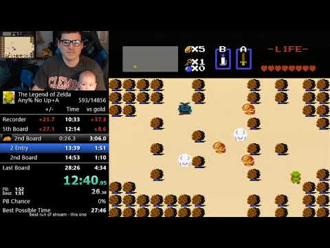 I beat Zelda 1 in under 30 minutes, while holding my child