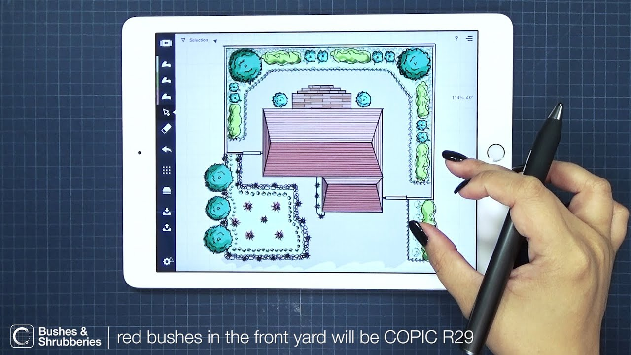 How to color a backyard landscape architecture design in - House plan drawing apps ...