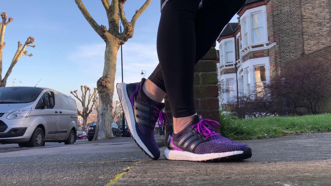 8c5af30d75f Women s Adidas Ultra Boost 2.0 (Black Shock Purple) - YouTube