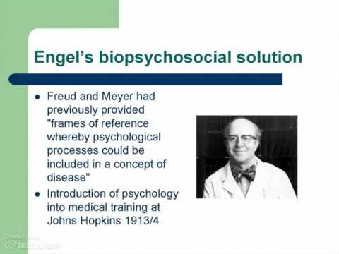 application of the biopsychosocial model to The psychoeducation of patients andtheir relatives by the application of the biopsychosocial model plays an important role in psychiatric therapeutics, and it mayalso be used via internet in the frame of telepsychiatry.