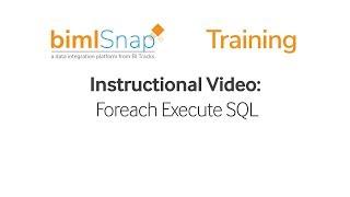 BimlSnap | Foreach Execute SQL