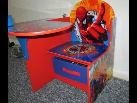 Spiderman Table And Chairs Madison Park Dining My 4 Year Old With His Delta Children Chair Desk Youtube