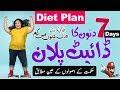 7 Day Diet Plan For Weight Loss || Weight Loss Programs || Best Diet Plan || ( In Urdu \ Hindi()