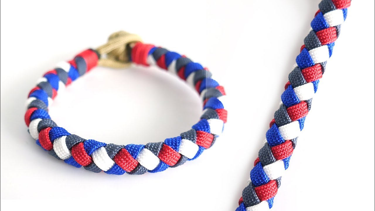 How to Make a Flat 4 Strand Round Braid Paracord Bracelet Tutorial | Knot  and Loop Style