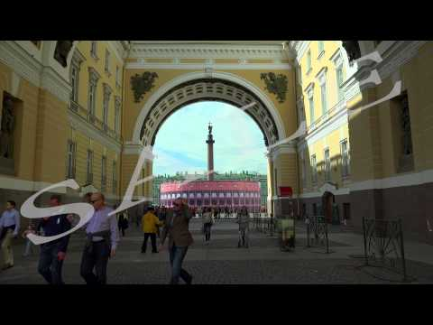 The arch of the General staff. The Palace square. Saint-Petersburg. 4K.