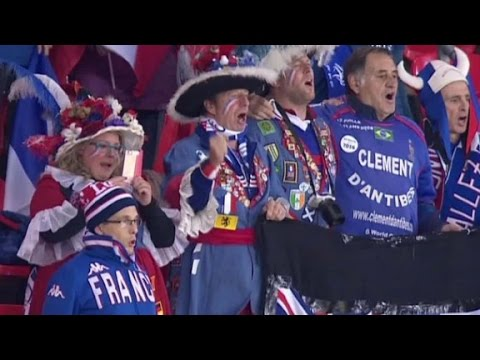 England fans join in singing French national anthem