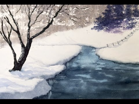 Зима Акварелью с интересной техникой! Winter Riverbank In Watercolour