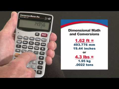 Construction Master Pro Dimensional Math and Conversions How To