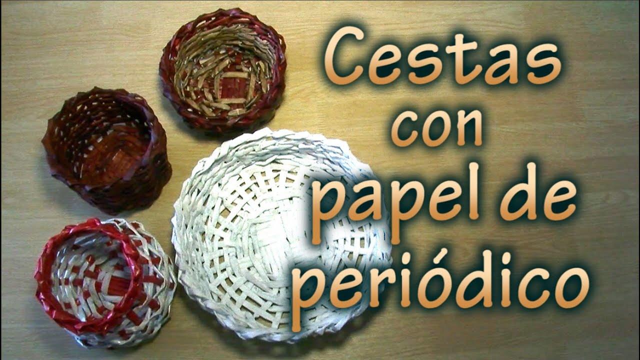 025 cestas con papel de peri dico youtube - Cestas de papel de periodico ...