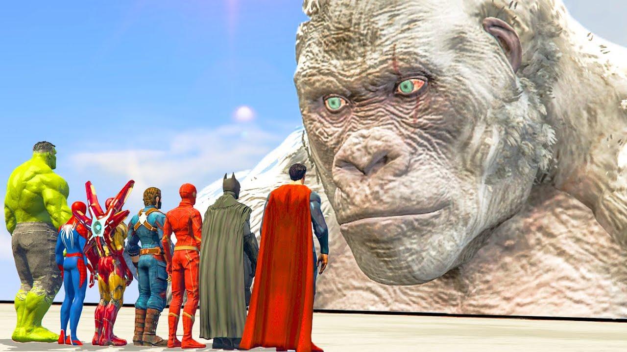 Download Spiderman & Hulk & Iron-Man & Superman & Flash & Batman vs White King Kong