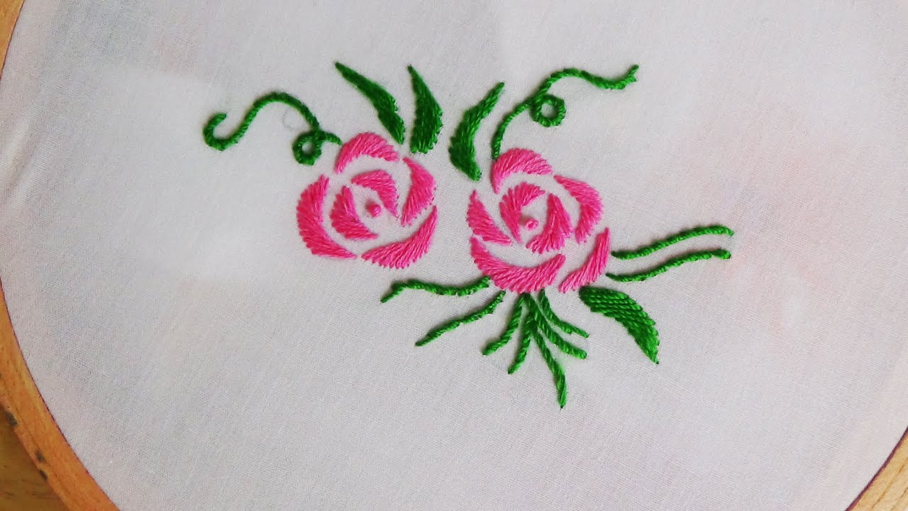 Hand Embroidery Satin Stitch - YouTube