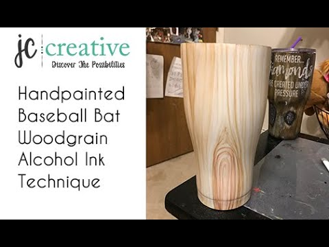 Baseball Woodgrain Tumbler. Hand painted with Alcohol Inks.