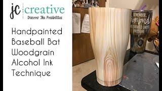 Baseball Woodgrain Tumbler. Hand painted with Alcohol Inks.