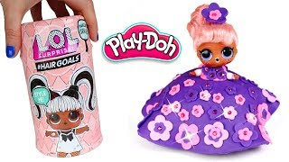 DIY Play Doh Princess Dress for LOL Doll #HairGoals How to Make Play Doh Dress for Dolls Girl Games