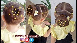 Penteado Infantil coque com flor de ligas