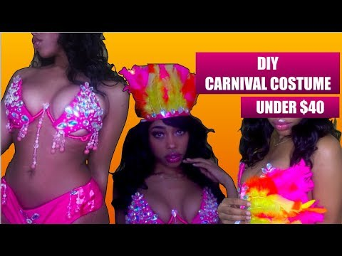 CARNIVAL COSTUME DIY USING WIRE BRA FRAME | UNDER $40 | CARNIVAL SERIES  PART 2|CHAOTIC ALLURE