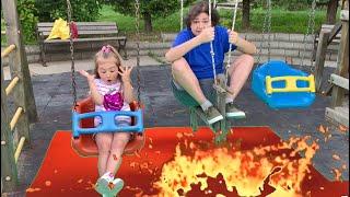 THE FLOOR is LAVA - Çilek Kız Elif Yerde Lav Var Oyunu Fun Kid Video