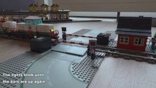 Lego train level crossing automated by Arduino Micro video