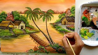 Riverfront Village Painting   Acrylic Painting Tutorial   Landscape Painting