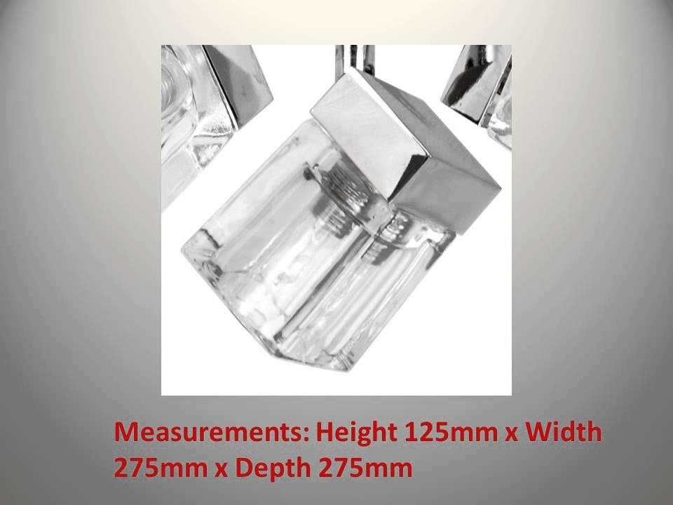 Modern Led Bathroom Ceiling Light Chrome Finish Ip44 Rated: Modern Chrome Ice Cube 3 Way IP44 Bathroom Ceiling Light