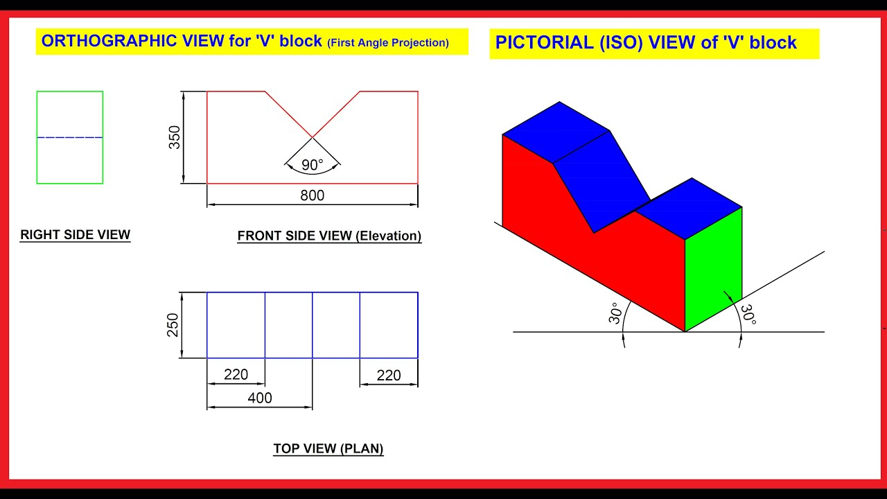 Draw The Assembly View From Orthographic View Youtube