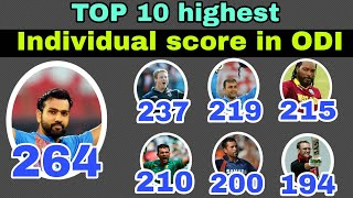 Top 10 highest individual score in ODI cricket  |  Top 10 highest score in ODI by players
