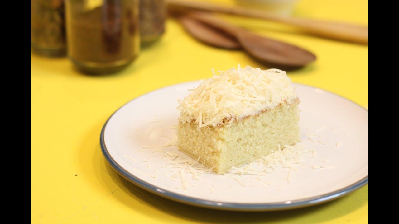Resep Sponge Cake Jepang: Resep Bolu Panggang Keju ( Vanilla Sponge Cake With Grated
