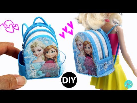 DIY Miniature Backpack Frozen/Back to school Dollhouse Accessories