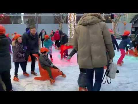 IceSkating event in Ingolfur Square, Reykjavik
