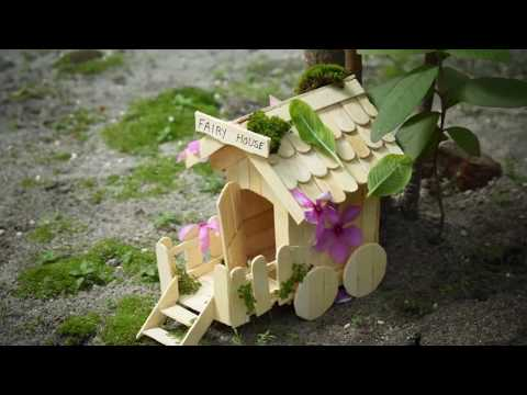 DIY Fairy House with Popsicle Stick for Home Decor and Garden Decor showpiece
