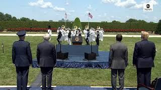 Pres.Trump welcomes new Secretary of Defense Mark Esper to the Pentagon